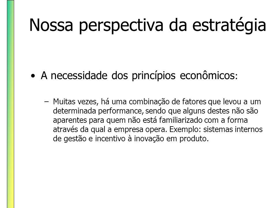 Nossa perspectiva da estratégia A necessidade dos princípios econômicos : –Muitas vezes, há uma combinação de fatores que levou a um determinada perfo