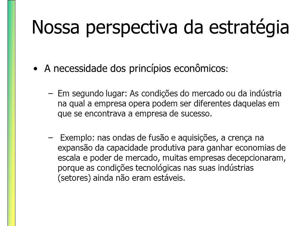 Nossa perspectiva da estratégia A necessidade dos princípios econômicos : –Em segundo lugar: As condições do mercado ou da indústria na qual a empresa