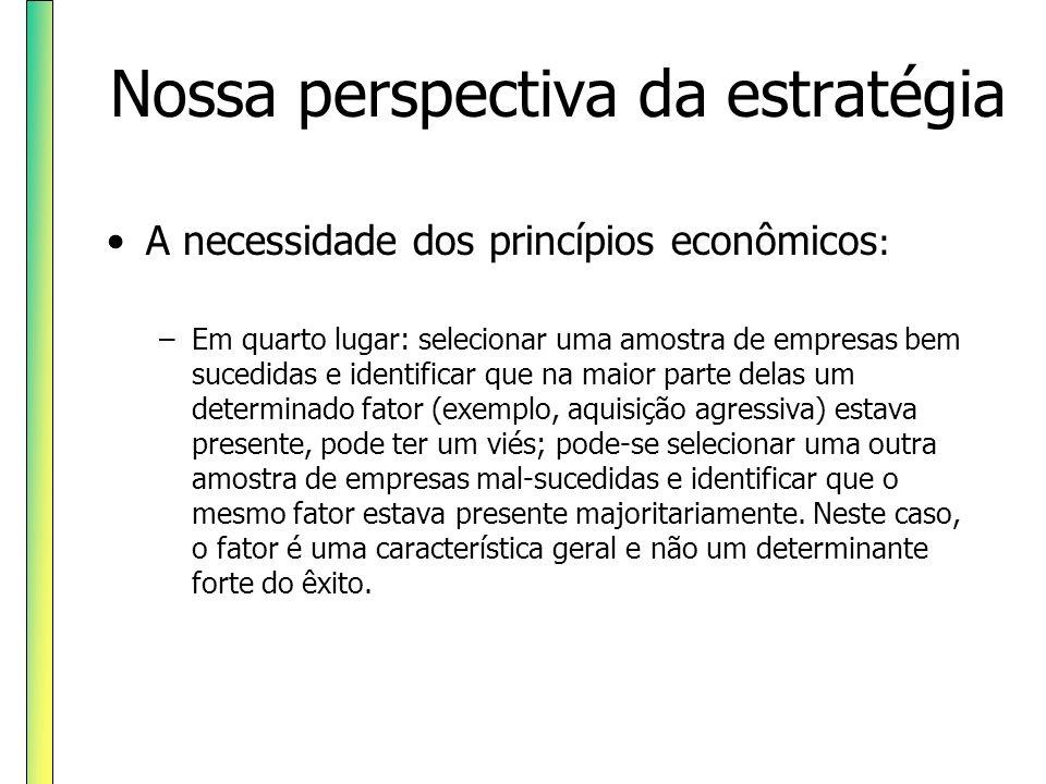 Nossa perspectiva da estratégia A necessidade dos princípios econômicos : –Em quarto lugar: selecionar uma amostra de empresas bem sucedidas e identif