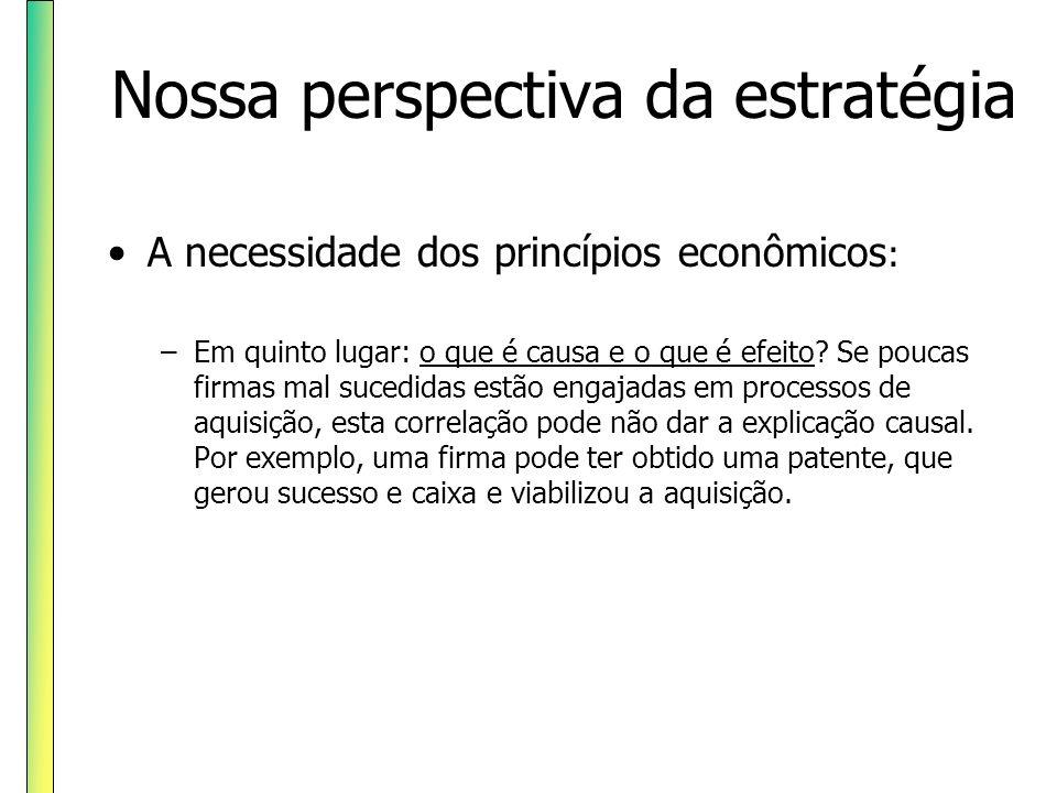 Nossa perspectiva da estratégia A necessidade dos princípios econômicos : –Em quinto lugar: o que é causa e o que é efeito? Se poucas firmas mal suced