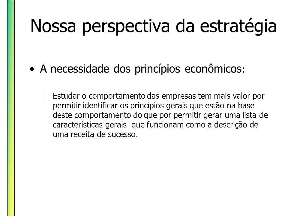 Nossa perspectiva da estratégia A necessidade dos princípios econômicos : –Estudar o comportamento das empresas tem mais valor por permitir identifica