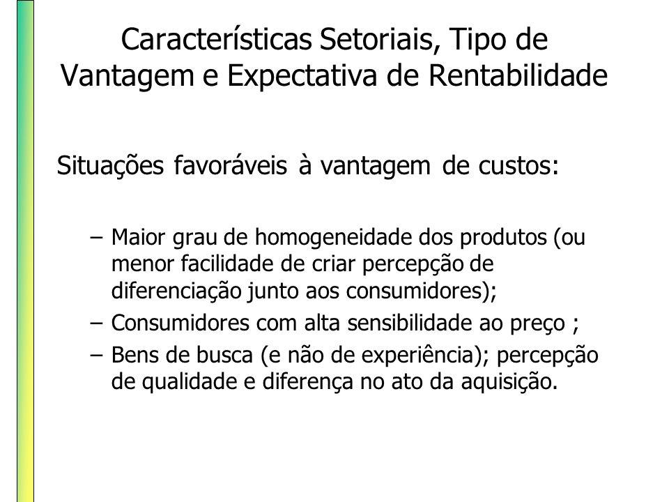 Características Setoriais, Tipo de Vantagem e Expectativa de Rentabilidade Situações favoráveis à vantagem de custos: –Maior grau de homogeneidade dos