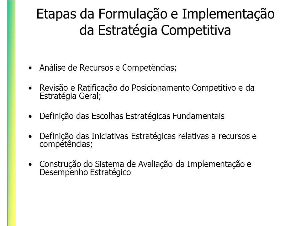 Etapas da Formulação e Implementação da Estratégia Competitiva Análise de Recursos e Competências; Revisão e Ratificação do Posicionamento Competitivo