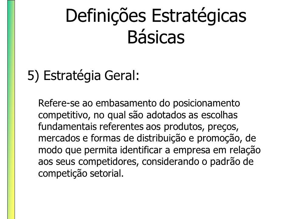 Definições Estratégicas Básicas 5) Estratégia Geral: Refere-se ao embasamento do posicionamento competitivo, no qual são adotados as escolhas fundamen
