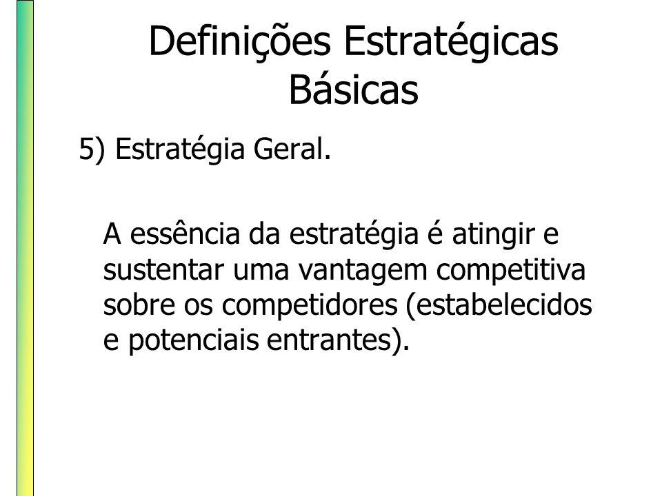 Definições Estratégicas Básicas 5) Estratégia Geral. A essência da estratégia é atingir e sustentar uma vantagem competitiva sobre os competidores (es