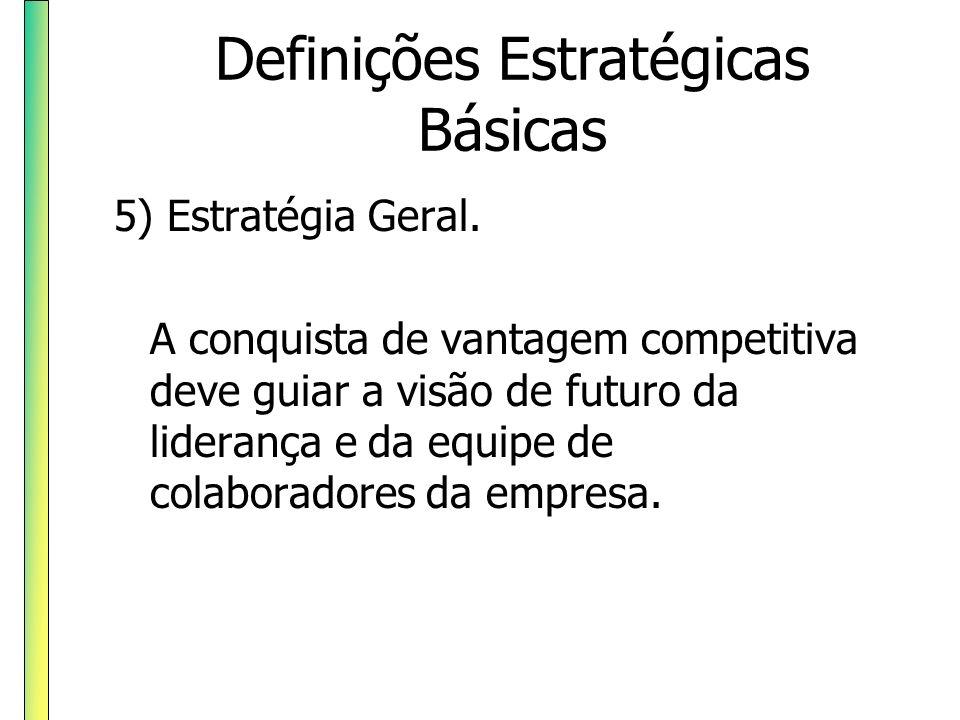 Definições Estratégicas Básicas 5) Estratégia Geral. A conquista de vantagem competitiva deve guiar a visão de futuro da liderança e da equipe de cola