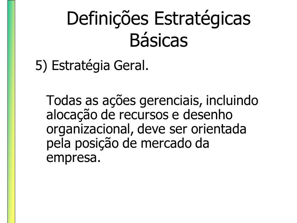 Definições Estratégicas Básicas 5) Estratégia Geral. Todas as ações gerenciais, incluindo alocação de recursos e desenho organizacional, deve ser orie
