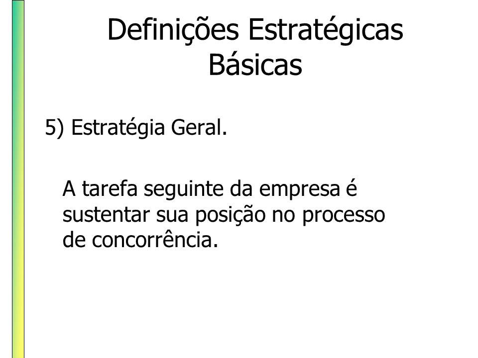 Definições Estratégicas Básicas 5) Estratégia Geral. A tarefa seguinte da empresa é sustentar sua posição no processo de concorrência.