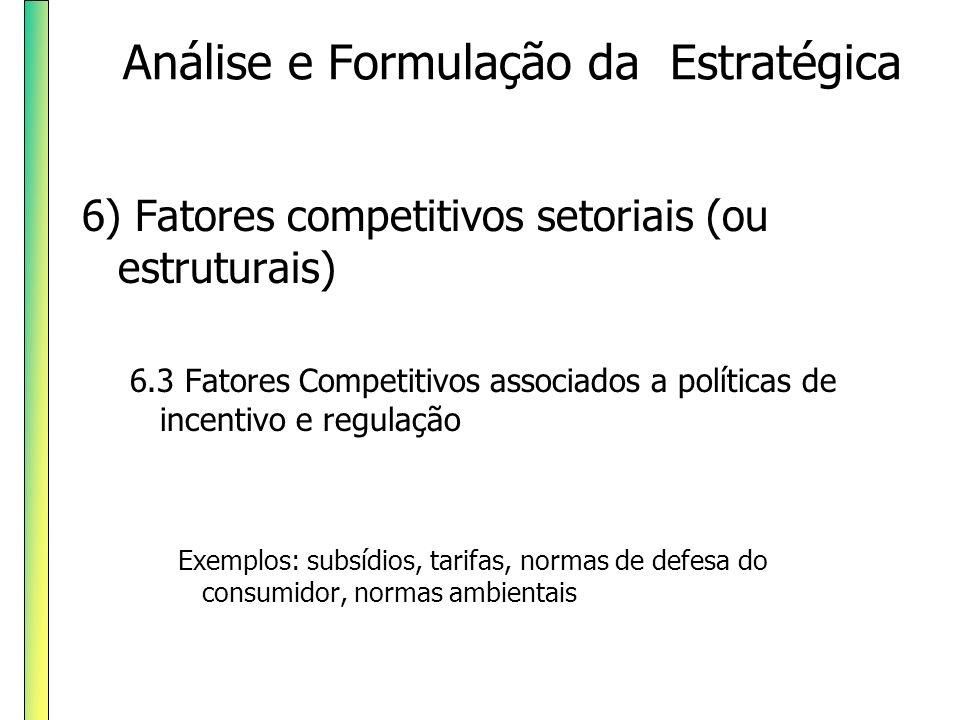 6) Fatores competitivos setoriais (ou estruturais) 6.3 Fatores Competitivos associados a políticas de incentivo e regulação Exemplos: subsídios, tarif