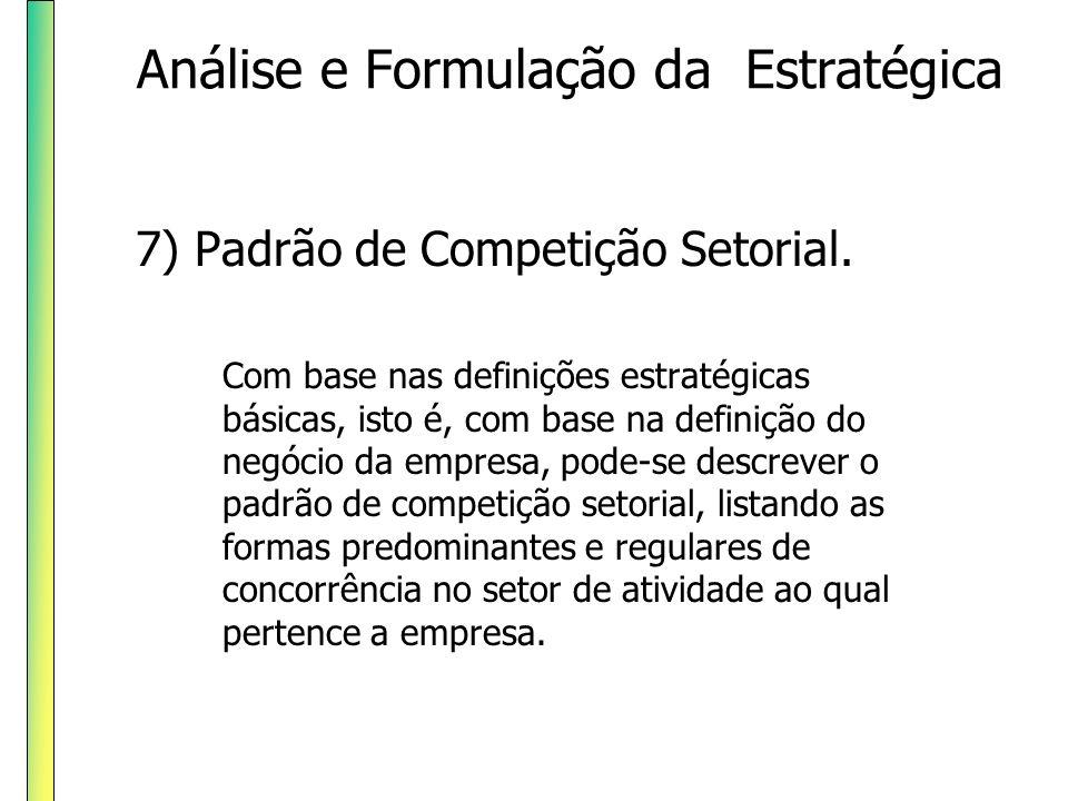 7) Padrão de Competição Setorial. Com base nas definições estratégicas básicas, isto é, com base na definição do negócio da empresa, pode-se descrever