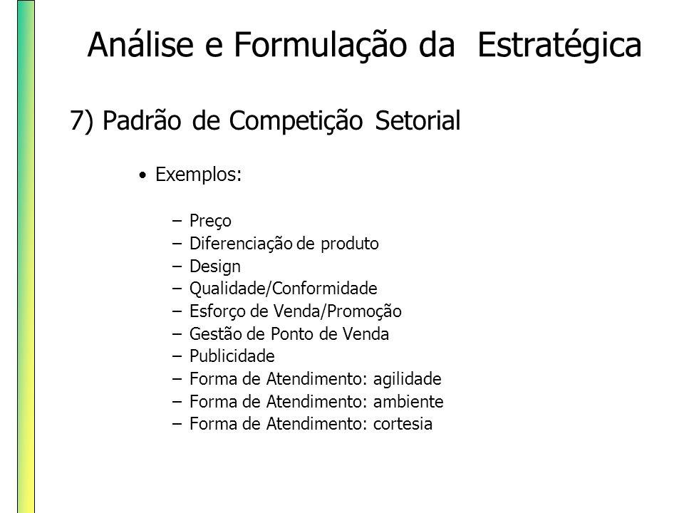 7) Padrão de Competição Setorial Exemplos: –Preço –Diferenciação de produto –Design –Qualidade/Conformidade –Esforço de Venda/Promoção –Gestão de Pont