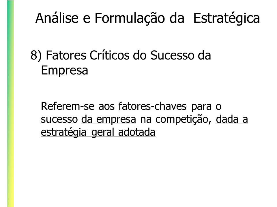8) Fatores Críticos do Sucesso da Empresa Referem-se aos fatores-chaves para o sucesso da empresa na competição, dada a estratégia geral adotada Análi