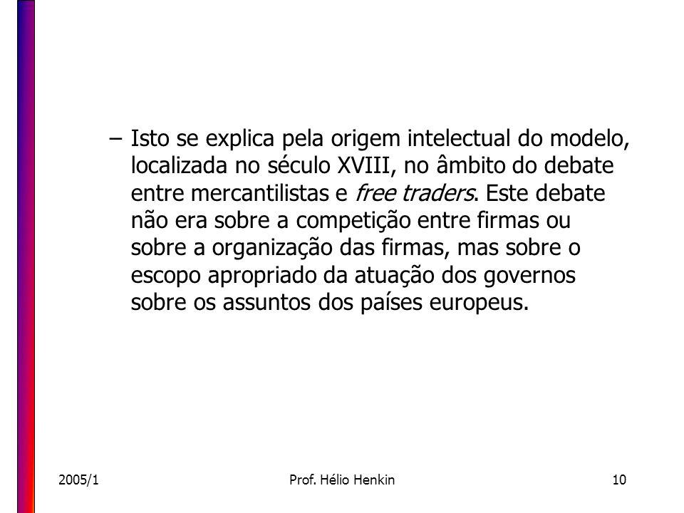 2005/1Prof. Hélio Henkin10 –Isto se explica pela origem intelectual do modelo, localizada no século XVIII, no âmbito do debate entre mercantilistas e