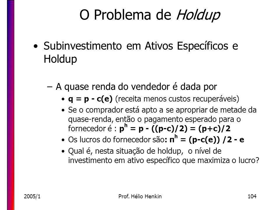 2005/1Prof. Hélio Henkin104 O Problema de Holdup Subinvestimento em Ativos Específicos e Holdup –A quase renda do vendedor é dada por q = p - c(e) (re