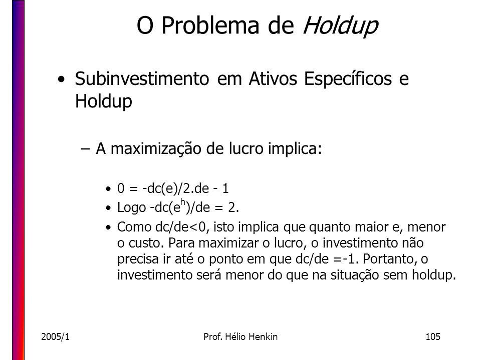 2005/1Prof. Hélio Henkin105 O Problema de Holdup Subinvestimento em Ativos Específicos e Holdup –A maximização de lucro implica: 0 = -dc(e)/2.de - 1 L