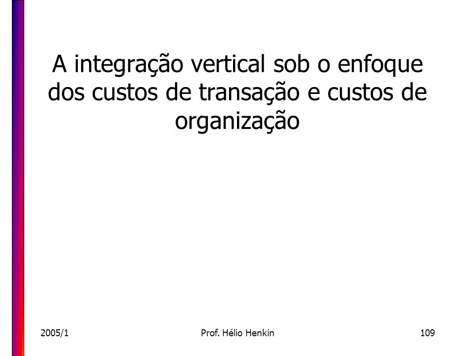 2005/1Prof. Hélio Henkin109 A integração vertical sob o enfoque dos custos de transação e custos de organização