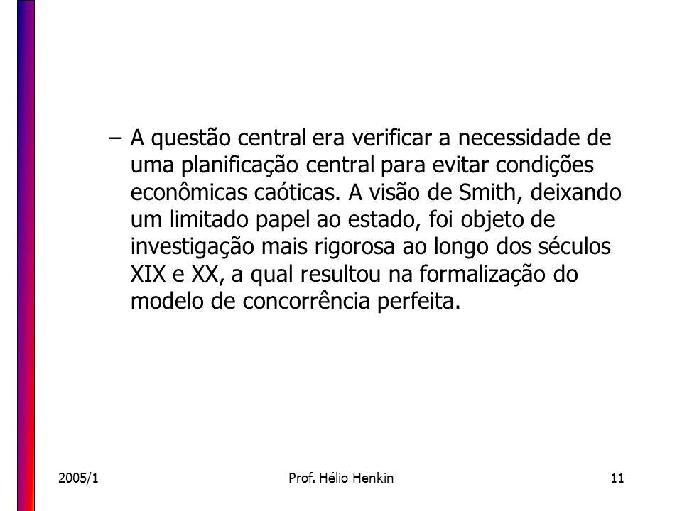 2005/1Prof. Hélio Henkin11 –A questão central era verificar a necessidade de uma planificação central para evitar condições econômicas caóticas. A vis