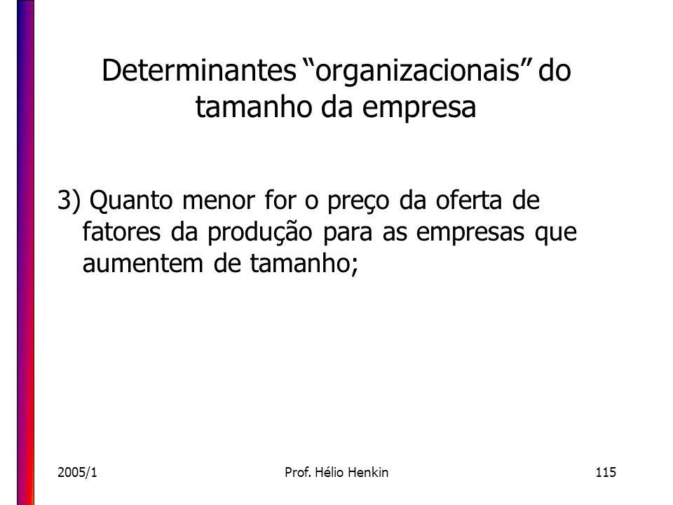 2005/1Prof. Hélio Henkin115 Determinantes organizacionais do tamanho da empresa 3) Quanto menor for o preço da oferta de fatores da produção para as e