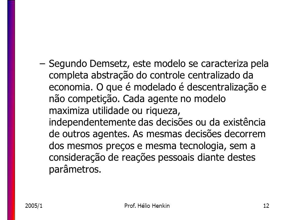 2005/1Prof. Hélio Henkin12 –Segundo Demsetz, este modelo se caracteriza pela completa abstração do controle centralizado da economia. O que é modelado