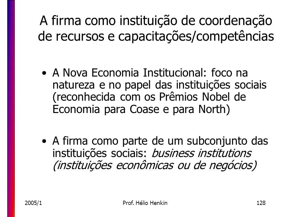 2005/1Prof. Hélio Henkin128 A firma como instituição de coordenação de recursos e capacitações/competências A Nova Economia Institucional: foco na nat