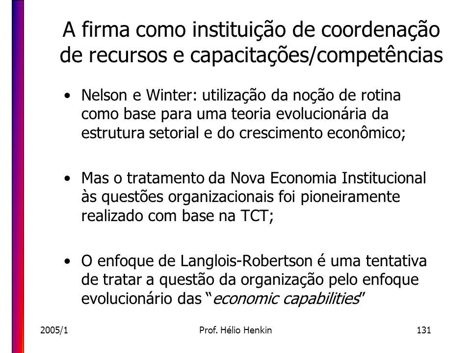 2005/1Prof. Hélio Henkin131 A firma como instituição de coordenação de recursos e capacitações/competências Nelson e Winter: utilização da noção de ro