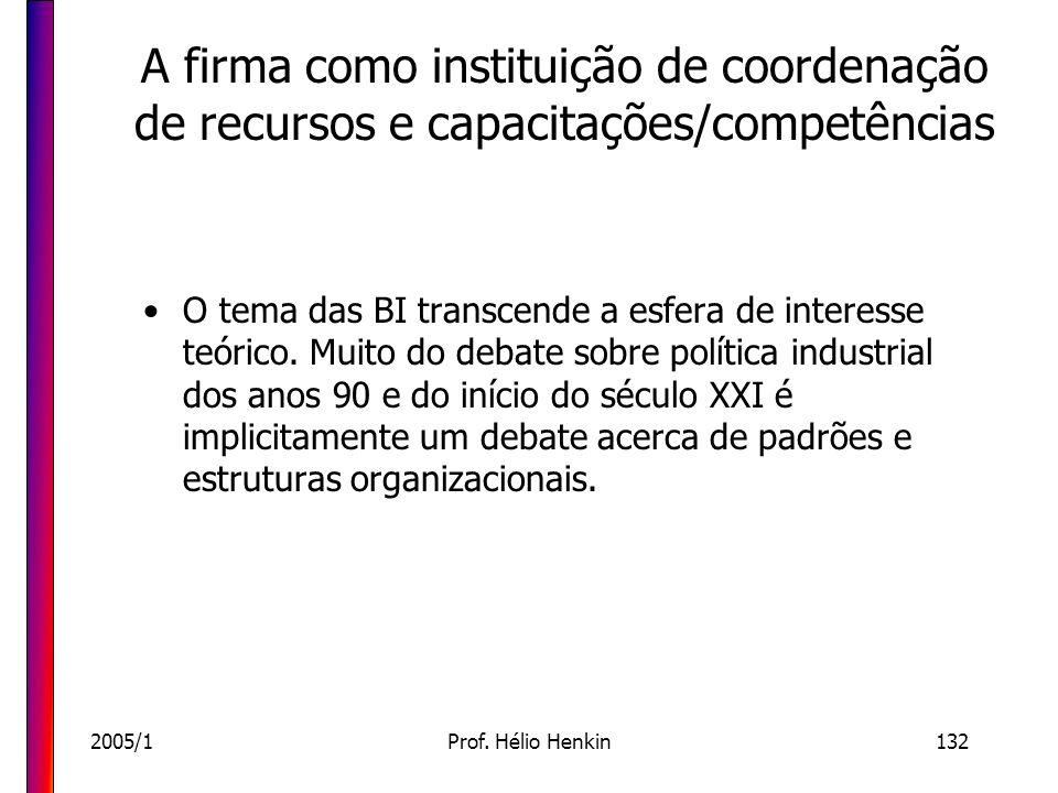 2005/1Prof. Hélio Henkin132 A firma como instituição de coordenação de recursos e capacitações/competências O tema das BI transcende a esfera de inter