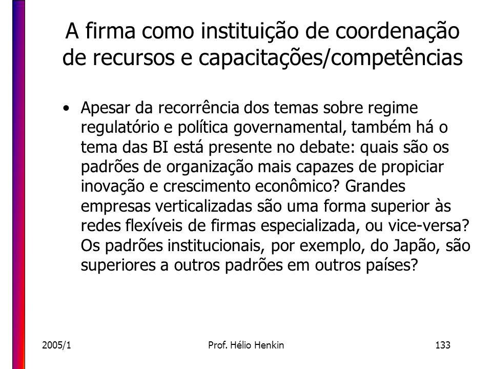 2005/1Prof. Hélio Henkin133 A firma como instituição de coordenação de recursos e capacitações/competências Apesar da recorrência dos temas sobre regi