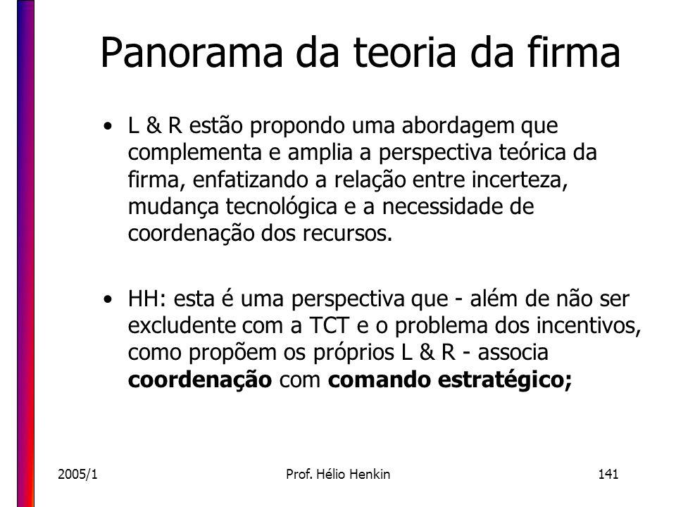 2005/1Prof. Hélio Henkin141 Panorama da teoria da firma L & R estão propondo uma abordagem que complementa e amplia a perspectiva teórica da firma, en