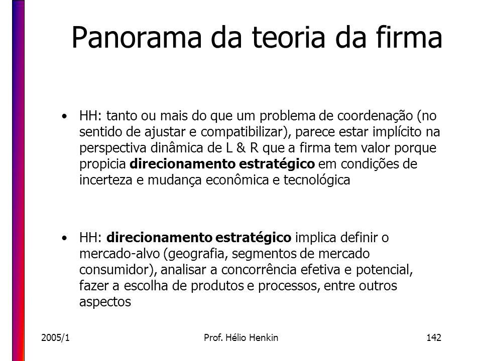 2005/1Prof. Hélio Henkin142 Panorama da teoria da firma HH: tanto ou mais do que um problema de coordenação (no sentido de ajustar e compatibilizar),
