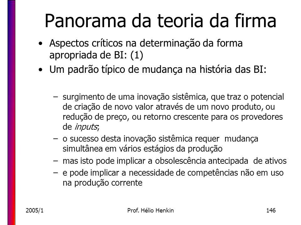 2005/1Prof. Hélio Henkin146 Panorama da teoria da firma Aspectos críticos na determinação da forma apropriada de BI: (1) Um padrão típico de mudança n