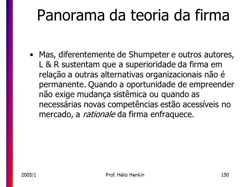 2005/1Prof. Hélio Henkin150 Panorama da teoria da firma Mas, diferentemente de Shumpeter e outros autores, L & R sustentam que a superioridade da firm