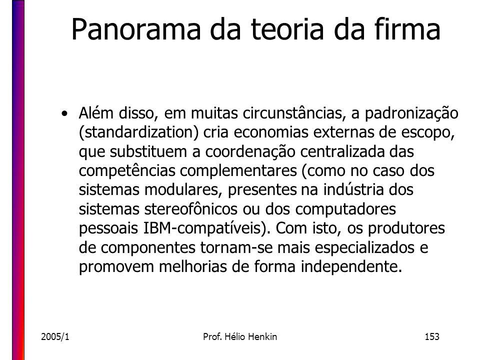 2005/1Prof. Hélio Henkin153 Panorama da teoria da firma Além disso, em muitas circunstâncias, a padronização (standardization) cria economias externas