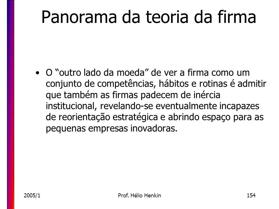 2005/1Prof. Hélio Henkin154 Panorama da teoria da firma O outro lado da moeda de ver a firma como um conjunto de competências, hábitos e rotinas é adm