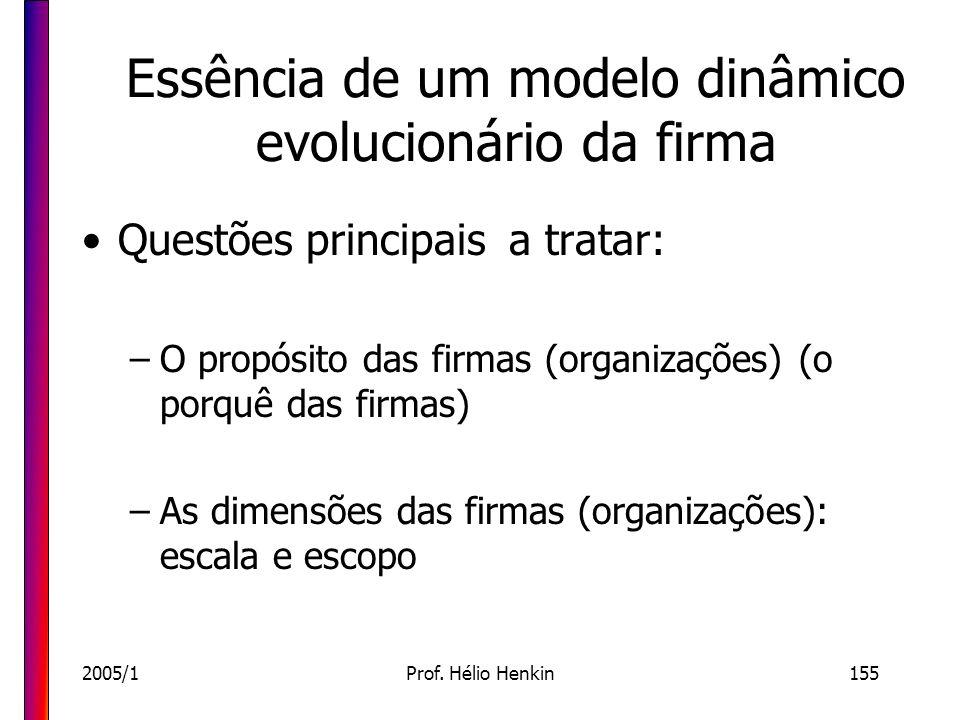 2005/1Prof. Hélio Henkin155 Essência de um modelo dinâmico evolucionário da firma Questões principais a tratar: –O propósito das firmas (organizações)
