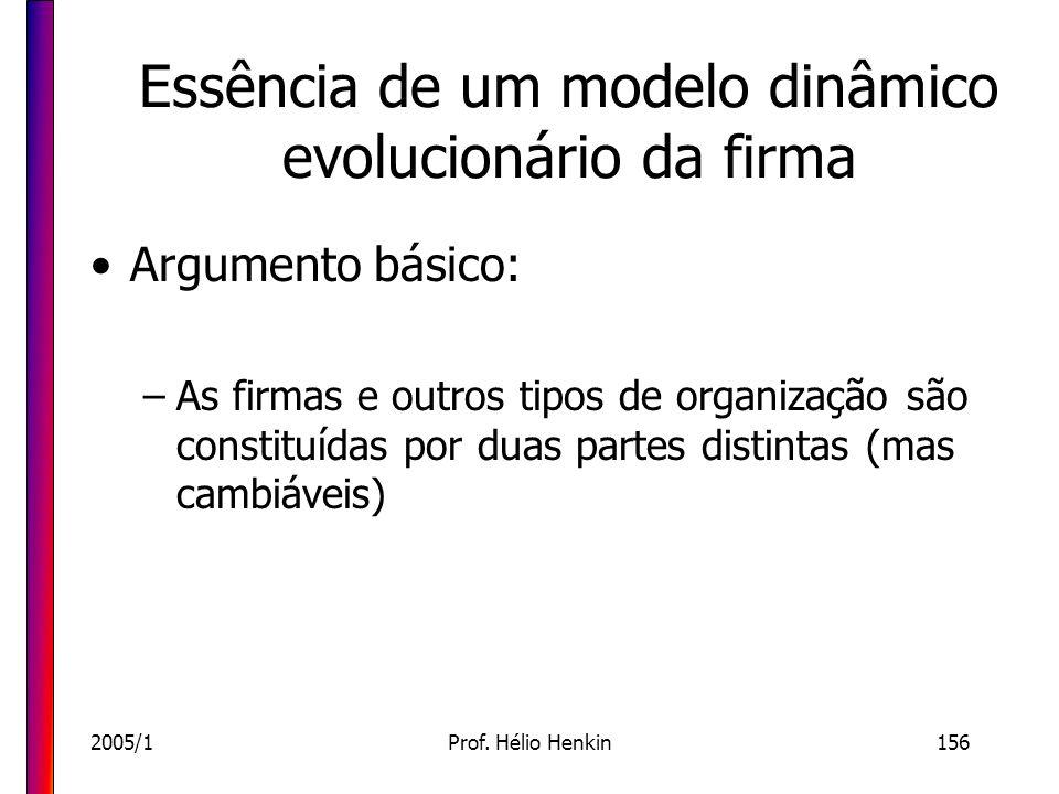 2005/1Prof. Hélio Henkin156 Essência de um modelo dinâmico evolucionário da firma Argumento básico: –As firmas e outros tipos de organização são const