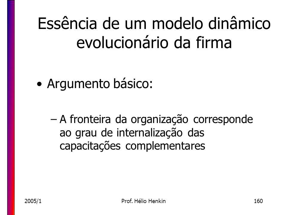 2005/1Prof. Hélio Henkin160 Essência de um modelo dinâmico evolucionário da firma Argumento básico: –A fronteira da organização corresponde ao grau de