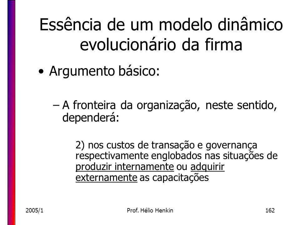 2005/1Prof. Hélio Henkin162 Essência de um modelo dinâmico evolucionário da firma Argumento básico: –A fronteira da organização, neste sentido, depend