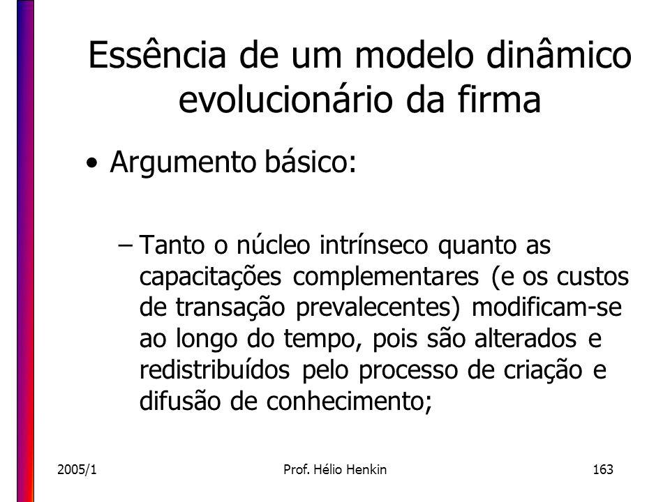 2005/1Prof. Hélio Henkin163 Essência de um modelo dinâmico evolucionário da firma Argumento básico: –Tanto o núcleo intrínseco quanto as capacitações