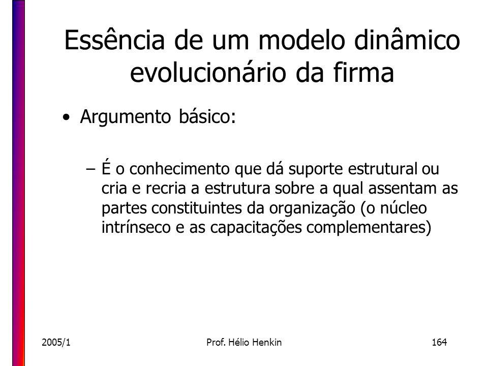 2005/1Prof. Hélio Henkin164 Essência de um modelo dinâmico evolucionário da firma Argumento básico: –É o conhecimento que dá suporte estrutural ou cri