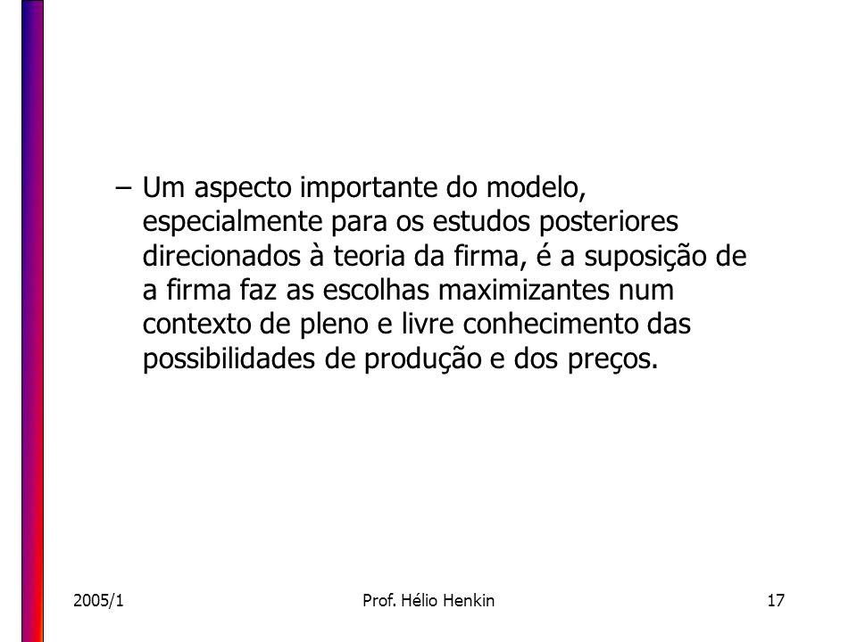 2005/1Prof. Hélio Henkin17 –Um aspecto importante do modelo, especialmente para os estudos posteriores direcionados à teoria da firma, é a suposição d