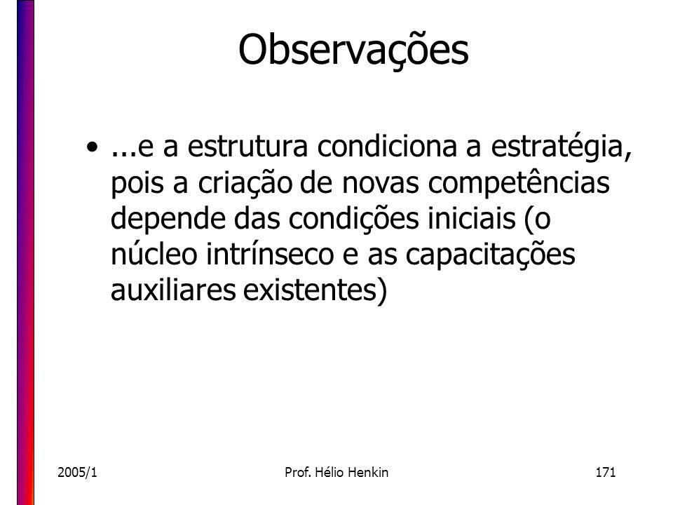 2005/1Prof. Hélio Henkin171 Observações...e a estrutura condiciona a estratégia, pois a criação de novas competências depende das condições iniciais (