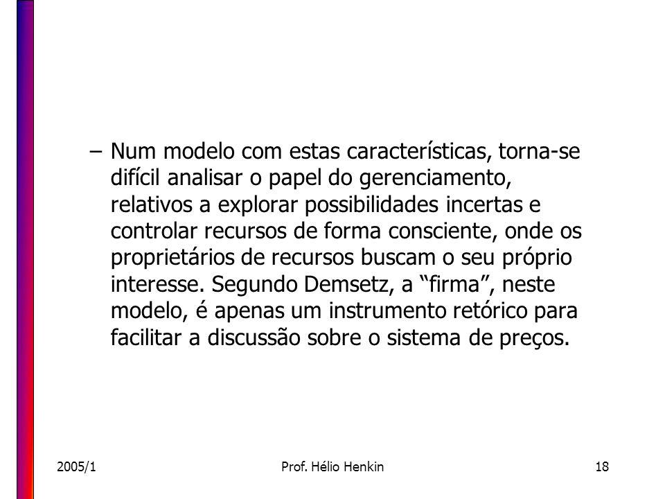 2005/1Prof. Hélio Henkin18 –Num modelo com estas características, torna-se difícil analisar o papel do gerenciamento, relativos a explorar possibilida