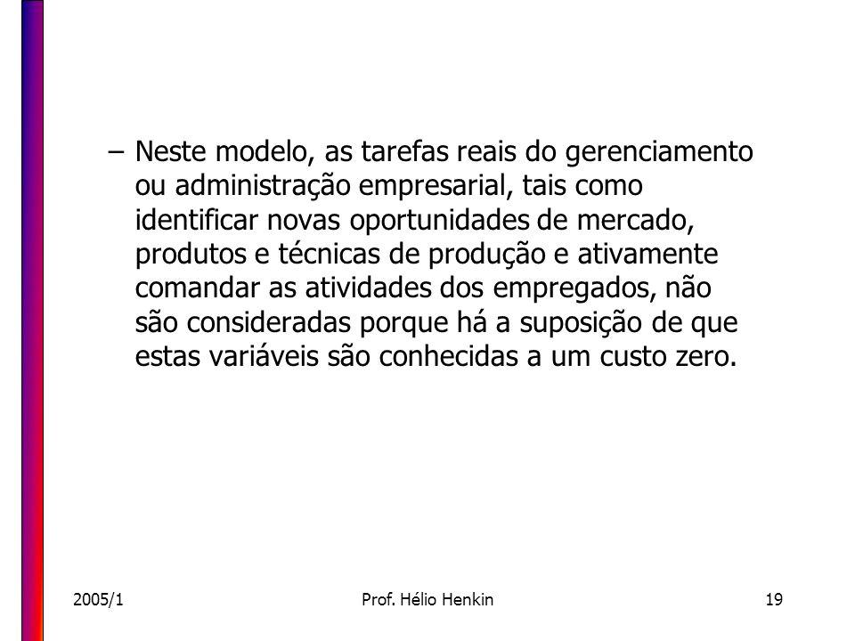 2005/1Prof. Hélio Henkin19 –Neste modelo, as tarefas reais do gerenciamento ou administração empresarial, tais como identificar novas oportunidades de