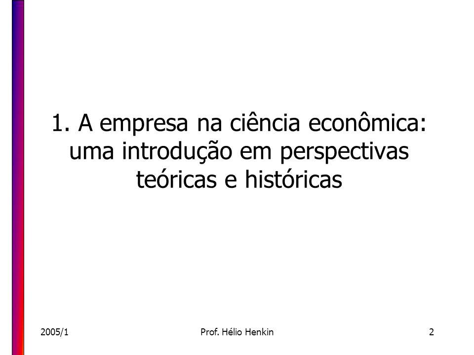 2005/1Prof. Hélio Henkin2 1. A empresa na ciência econômica: uma introdução em perspectivas teóricas e históricas