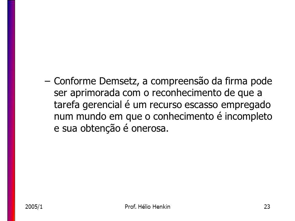 2005/1Prof. Hélio Henkin23 –Conforme Demsetz, a compreensão da firma pode ser aprimorada com o reconhecimento de que a tarefa gerencial é um recurso e
