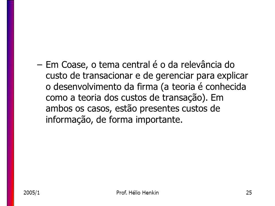 2005/1Prof. Hélio Henkin25 –Em Coase, o tema central é o da relevância do custo de transacionar e de gerenciar para explicar o desenvolvimento da firm