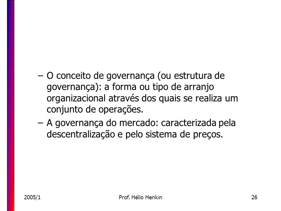 2005/1Prof. Hélio Henkin26 –O conceito de governança (ou estrutura de governança): a forma ou tipo de arranjo organizacional através dos quais se real
