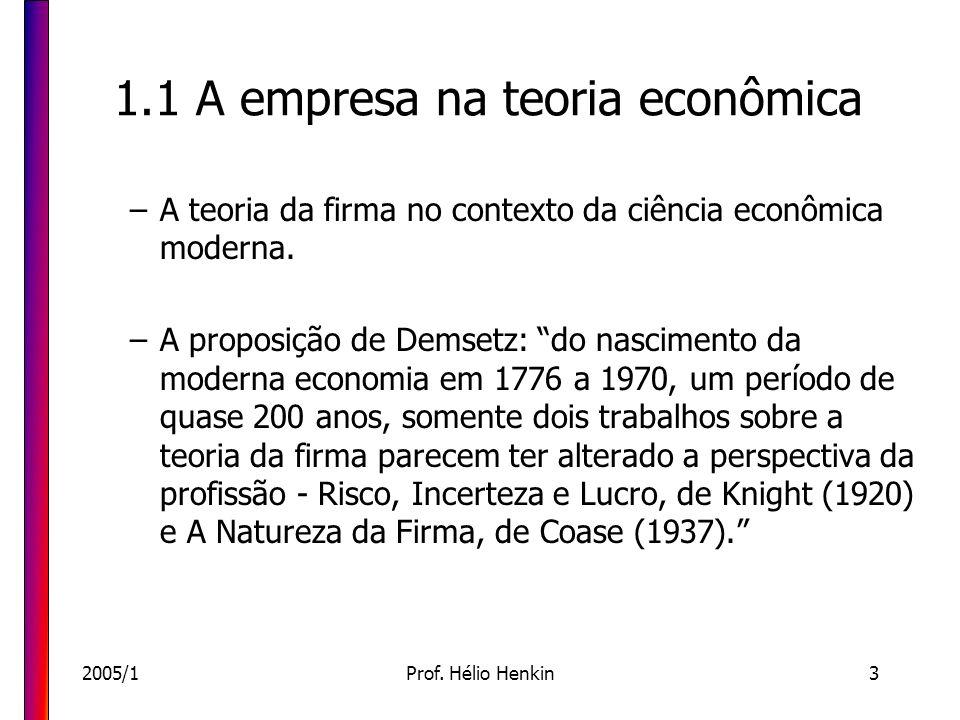 2005/1Prof. Hélio Henkin3 1.1 A empresa na teoria econômica –A teoria da firma no contexto da ciência econômica moderna. –A proposição de Demsetz: do