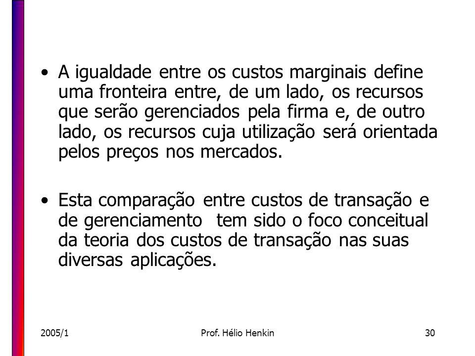 2005/1Prof. Hélio Henkin30 A igualdade entre os custos marginais define uma fronteira entre, de um lado, os recursos que serão gerenciados pela firma