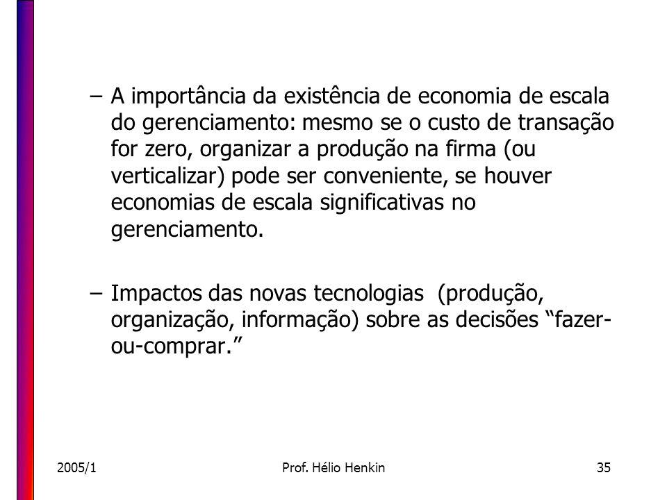 2005/1Prof. Hélio Henkin35 –A importância da existência de economia de escala do gerenciamento: mesmo se o custo de transação for zero, organizar a pr